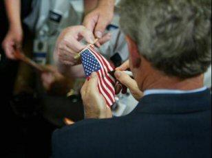 President Bush Signing Flag